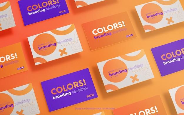 Modern business card grid mockup