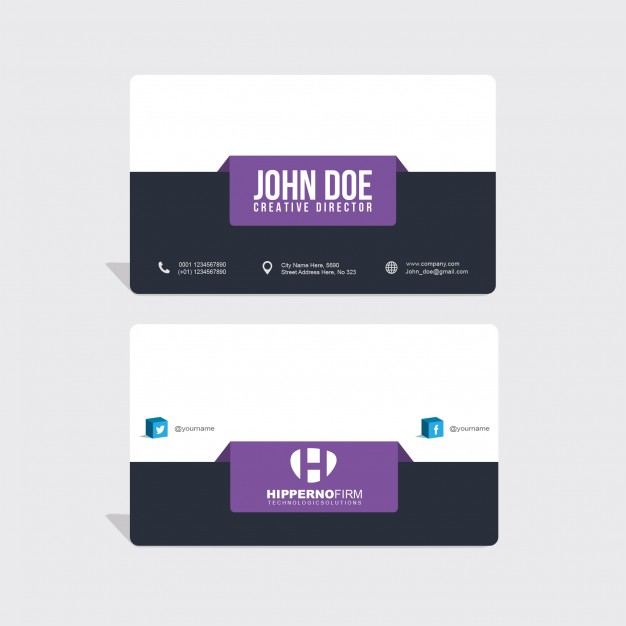 Modern business card with purple elements