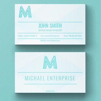 Modern white and blue business card