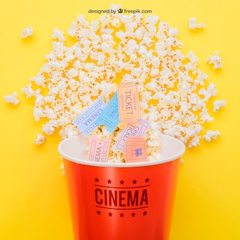 Movie tickets in popcorn bucket