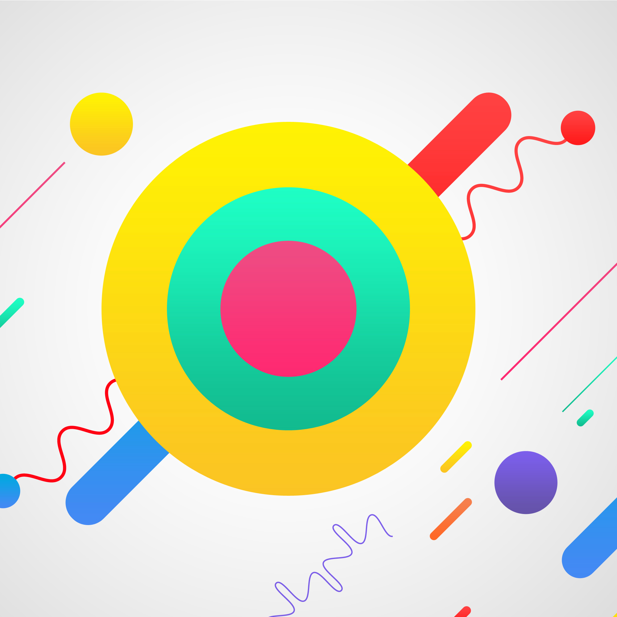 Multicolor shapes on white background