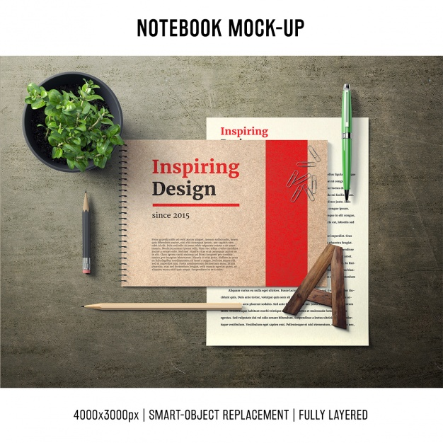 Notebook mock up template