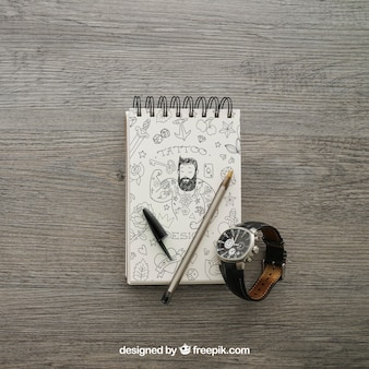 Notepad and watch