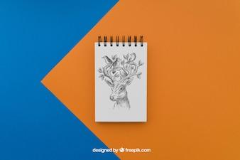 鹿の絵を描くメモ帳