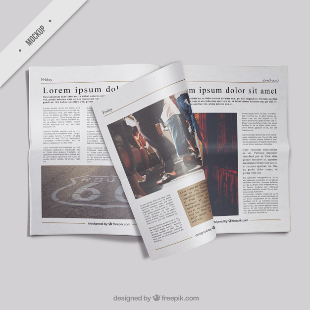 Open newspaper mockup with a folded page