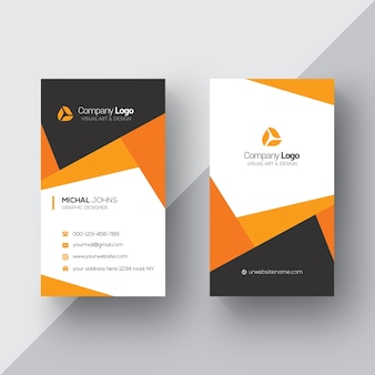 Orange and white business card