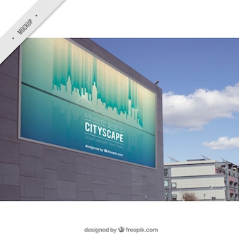 Outdoor billboard of cityscape
