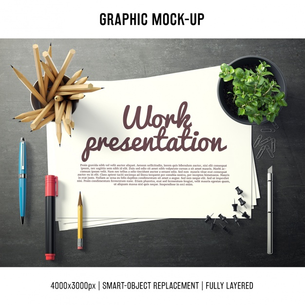Paper in a desk mock up template