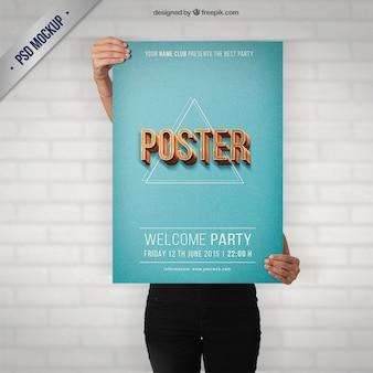 レトロなスタイルでの党のポスターのモックアップ