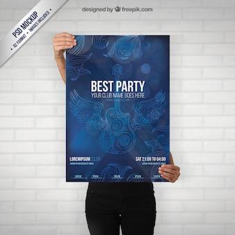 ギターとのパーティーのポスターモックアップ