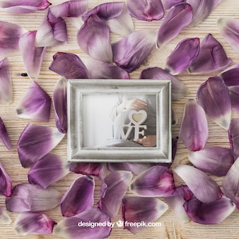 Photo frame on petals