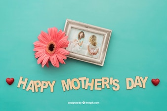 Photo frame with flower for mothers day
