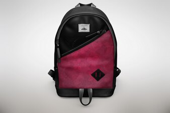 Pink and black bagpack mock up