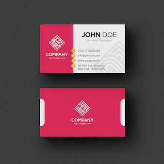 Pink and white business card