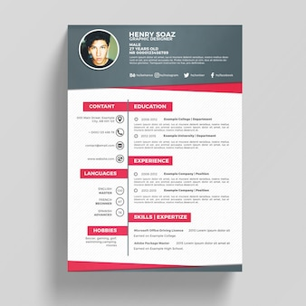 Pink and white resume template