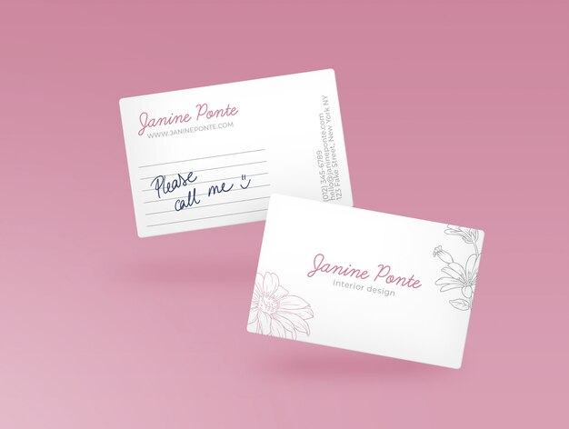 Pink bussiness card mockup