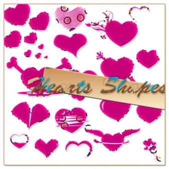 Pink hearts custom shapes PSD