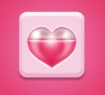 Pink icon with heart romantic PSD
