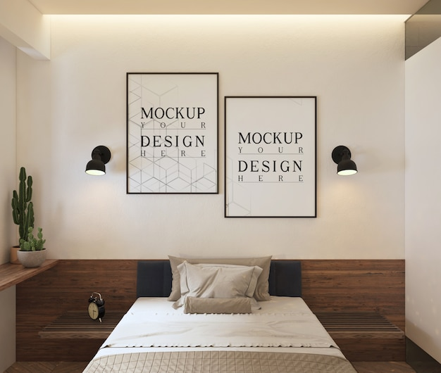 Posters frame mockup  in modern contemporary bedroom