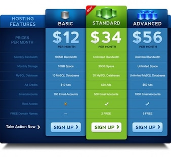 premium pricing table psd template