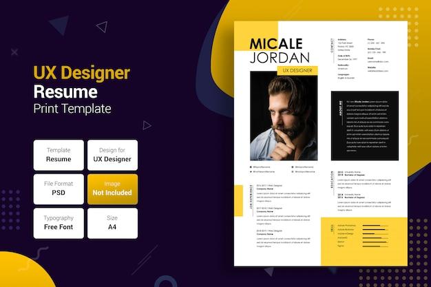 Professional uxer yellow & black resume template