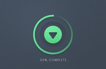 Progress round bar download button PSD