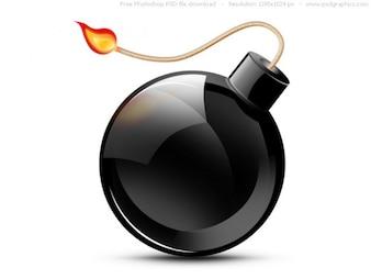 PSD black burning bomb icon