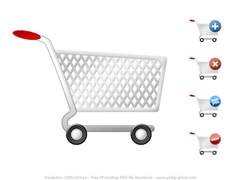 PSD shopping cart icons set
