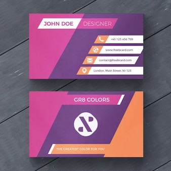 Purple and orange business card