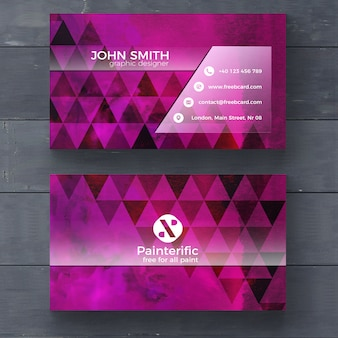 Purple business card with triangle shapes