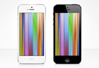 Rainbow user interface iPhone 5 PSD