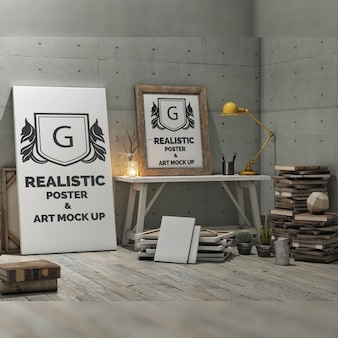 Realistic poster mock up