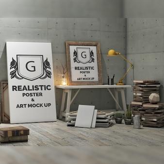 現実的なポスターはモックアップ
