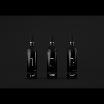 Realistic wine bottles presentation