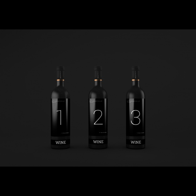 Realistic wine bottles presentation