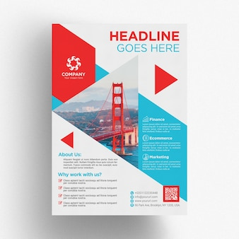 Red and blue business brochure template