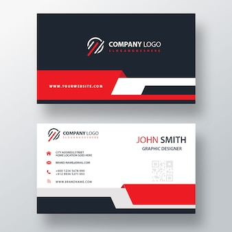 Red business card template
