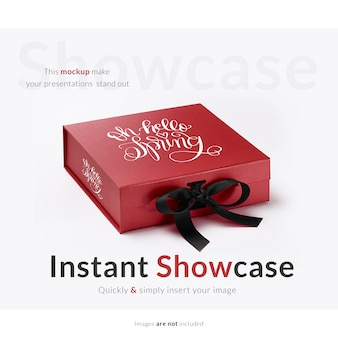 Red gift box mock up