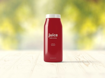 Red juice packaging mock up