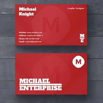 Red minimal business card