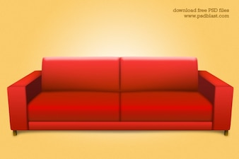Red sofa psd  interior icon