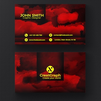 Red watercolor business card