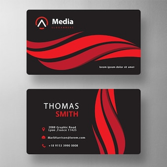 Red wavy professional psd visit card