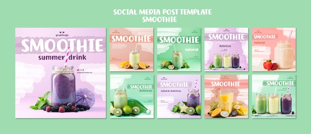 Refreshing smoothie social media posts