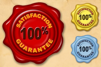 Satisfaction guarantee wax seal  psd & png