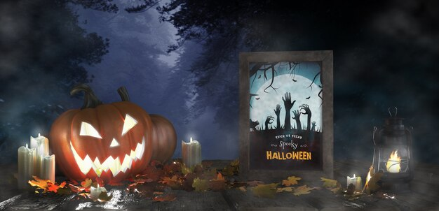Scary decoration for halloween with framed horror movie poster