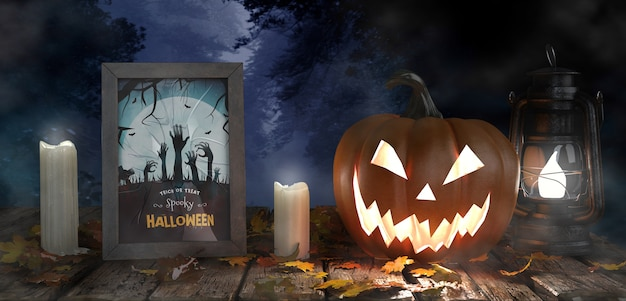 Scary pumpkin with candles and horror movie poster