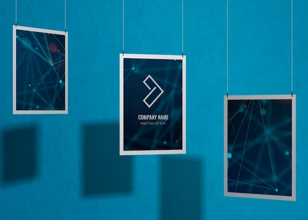 Set of business corporate identity mock-up with frame