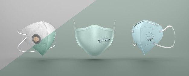 Set of face masks mock-up