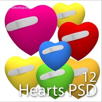 Set of damaged hearts PSD